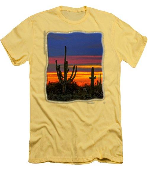 Saguaro Sunset V31 Men's T-Shirt (Slim Fit) by Mark Myhaver