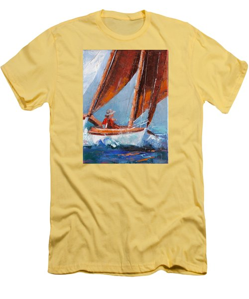 Sailboat Therapy Men's T-Shirt (Slim Fit) by Trina Teele