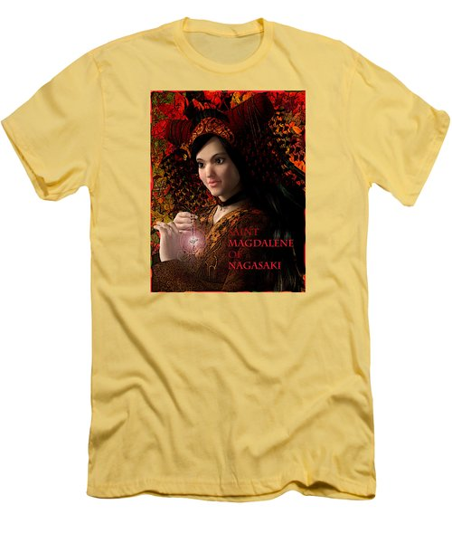 Men's T-Shirt (Slim Fit) featuring the painting Saint Magdalene Of Japan by Suzanne Silvir