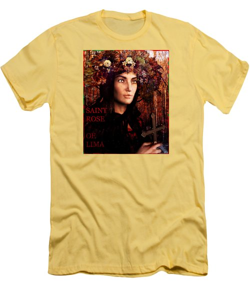 Men's T-Shirt (Slim Fit) featuring the painting Saint Rose Of Lima by Suzanne Silvir
