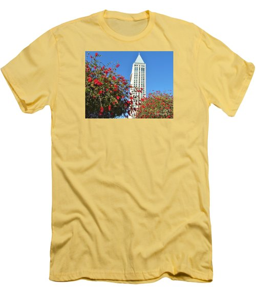 Men's T-Shirt (Slim Fit) featuring the photograph San Diego Building In Blossom by Jasna Gopic
