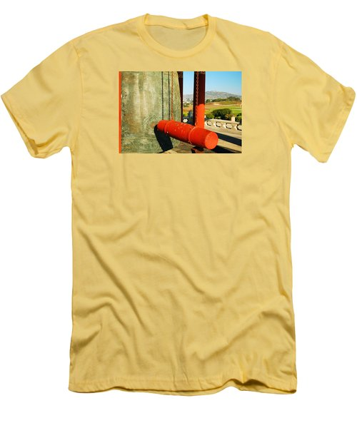 Men's T-Shirt (Slim Fit) featuring the photograph San Pedro Korean Peace Bell by James Kirkikis