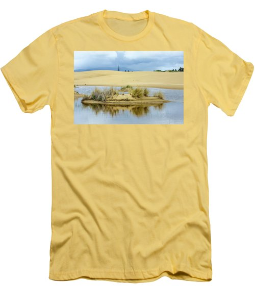 Sand Dunes And Water Men's T-Shirt (Slim Fit) by Jerry Cahill