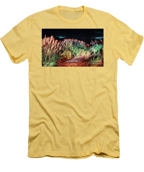 Men's T-Shirt (Slim Fit) featuring the painting Sand Dunes At Night On The Outer Banks Ap by Dan Carmichael