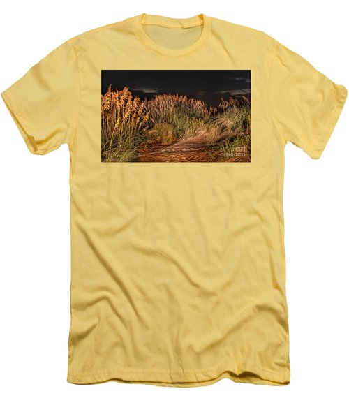 Sand Dunes At Night On The Outer Banks Men's T-Shirt (Slim Fit) by Dan Carmichael