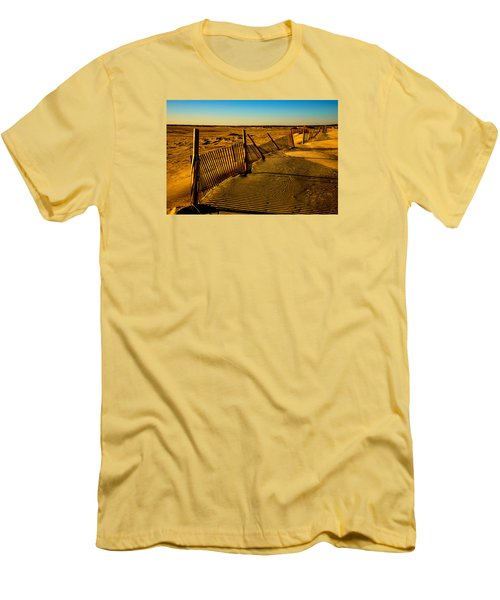 Men's T-Shirt (Slim Fit) featuring the photograph Sand Fences At Lands End II by John Harding