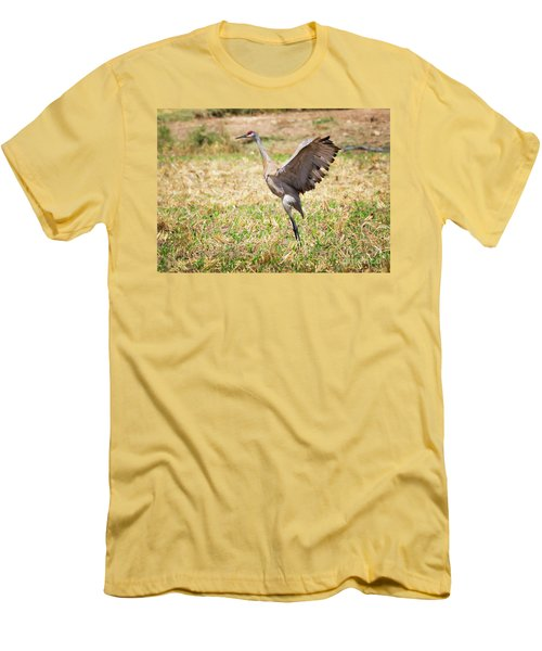 Men's T-Shirt (Athletic Fit) featuring the photograph Sandhill Crane Morning Stretch by Ricky L Jones