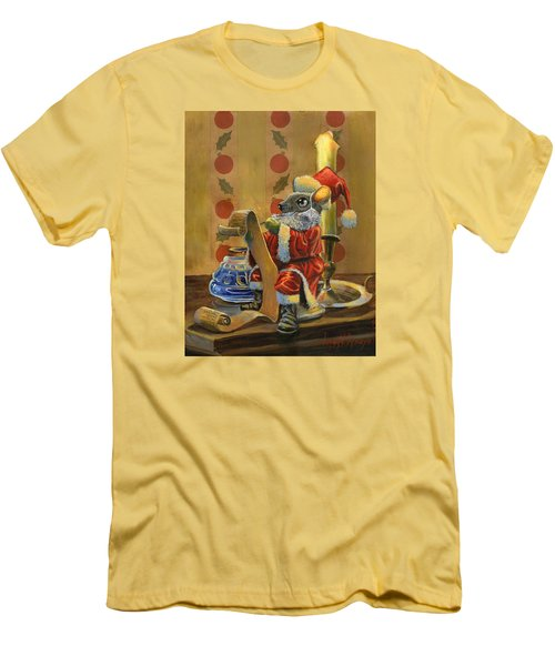 Santa Mouse Men's T-Shirt (Slim Fit) by Jeff Brimley