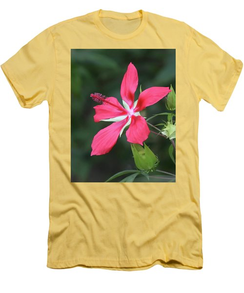 Scarlet Hibiscus #4 Men's T-Shirt (Athletic Fit)