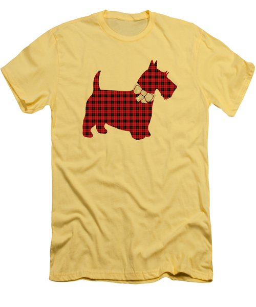 Men's T-Shirt (Slim Fit) featuring the mixed media Scottie Dog Plaid by Christina Rollo