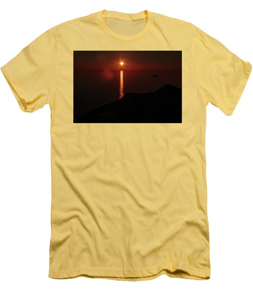 Sea, Mountains, Sunset, Sun Sinking Over The Horizon Men's T-Shirt (Athletic Fit)