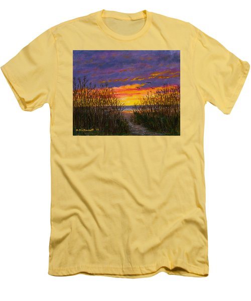 Men's T-Shirt (Slim Fit) featuring the painting Sea Oat Sunrise # 2 by Kathleen McDermott