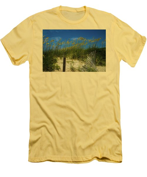Men's T-Shirt (Slim Fit) featuring the photograph Sea Oats And Sand Fence by John Harding