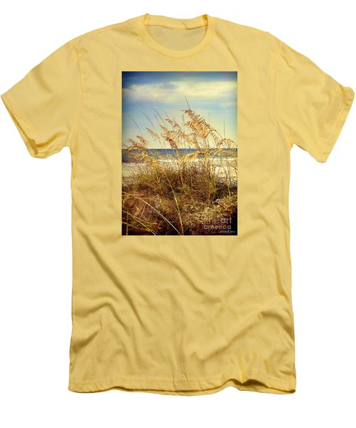 Sea Oats Ocean 14 Men's T-Shirt (Slim Fit) by Linda Olsen