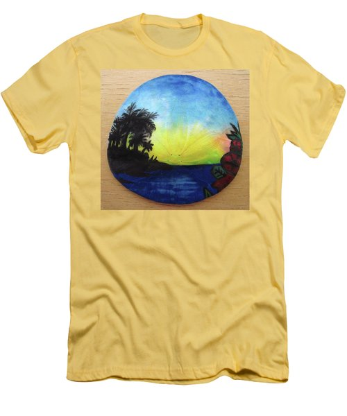 Seascape On A Sand Dollar Men's T-Shirt (Slim Fit) by Mary Ellen Frazee