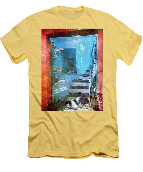 Men's T-Shirt (Slim Fit) featuring the digital art Secret Space by Alexis Rotella