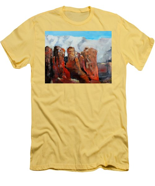 Sedona Coffee Pot Rock Painting Men's T-Shirt (Slim Fit) by Michele Carter