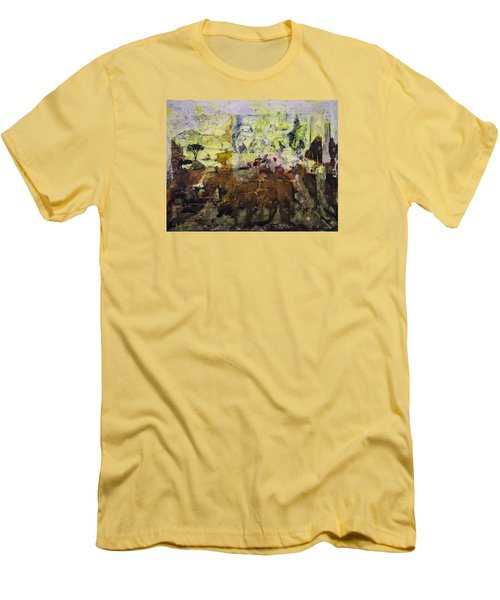 Men's T-Shirt (Slim Fit) featuring the painting Senegambia by Ron Richard Baviello