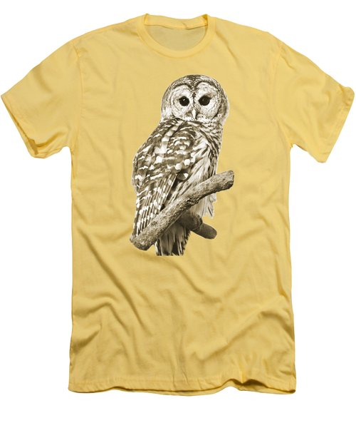 Sepia Owl Men's T-Shirt (Slim Fit) by Christina Rollo