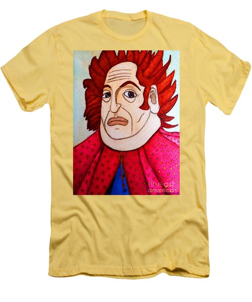 Men's T-Shirt (Slim Fit) featuring the painting Serious Cardinal by Don Pedro De Gracia