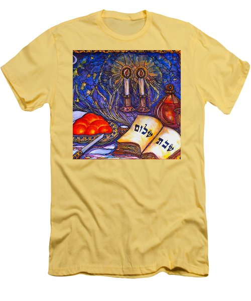 Men's T-Shirt (Slim Fit) featuring the painting Shabbat Shalom by Rae Chichilnitsky