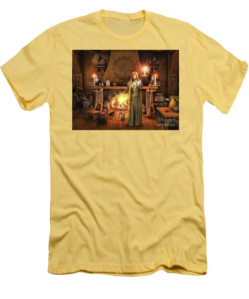 Men's T-Shirt (Slim Fit) featuring the painting Share My Fire And Candle Light by Dave Luebbert