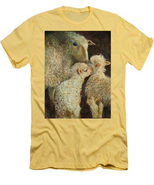 Sheep With Two Lambs Men's T-Shirt (Athletic Fit)
