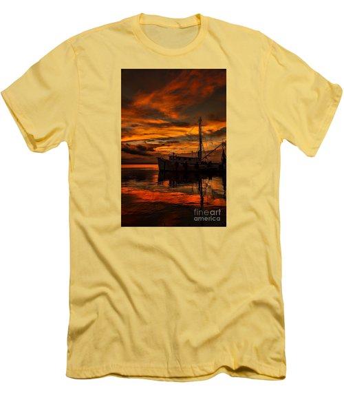 Shrimp Boat Sunset Men's T-Shirt (Athletic Fit)