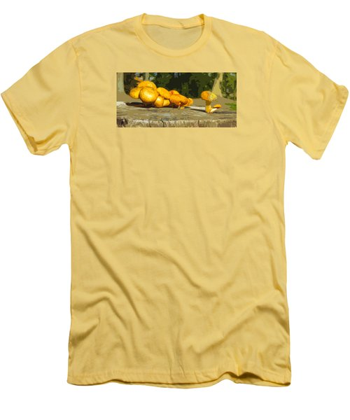 Men's T-Shirt (Slim Fit) featuring the photograph Shrooms On A Stump by Spyder Webb