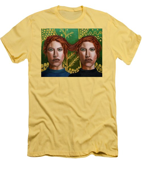 Men's T-Shirt (Slim Fit) featuring the painting Siamese Twins 5 by Leah Saulnier The Painting Maniac