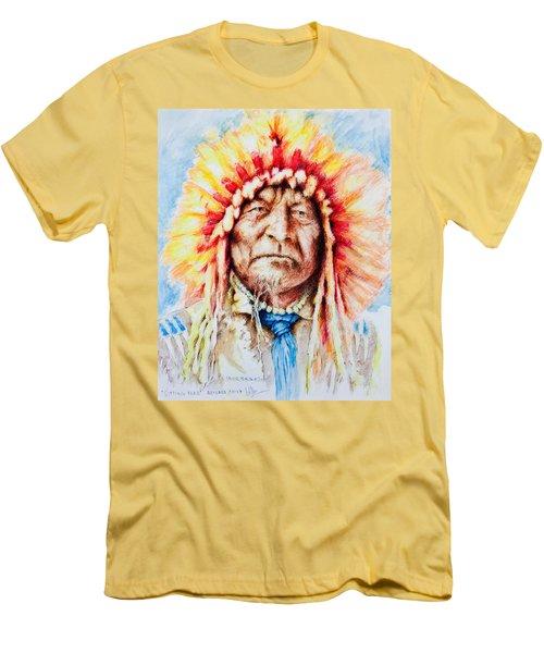 Sitting Bear Men's T-Shirt (Slim Fit) by Victor Minca