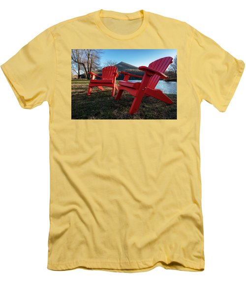 Sitting By The Lake Men's T-Shirt (Slim Fit) by Steve Hurt