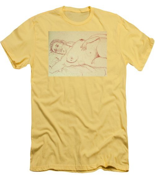 Nude Laying In Red Men's T-Shirt (Slim Fit) by Rand Swift