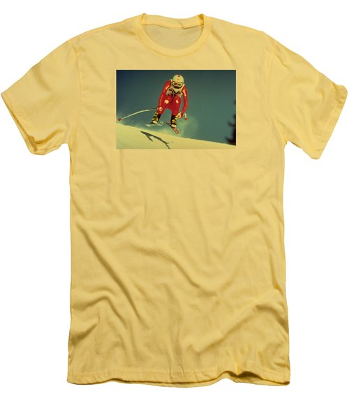 Men's T-Shirt (Slim Fit) featuring the photograph Skiing In Crans Montana by Travel Pics