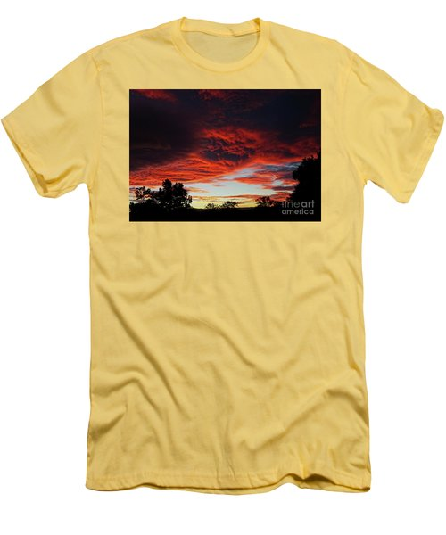 Men's T-Shirt (Athletic Fit) featuring the photograph Sky On Fire by Angela DeFrias