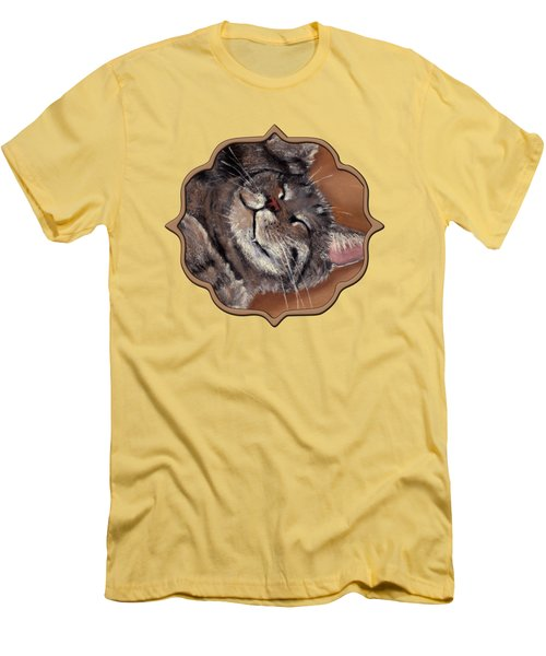 Men's T-Shirt (Slim Fit) featuring the painting Sleepy Kitty by Anastasiya Malakhova