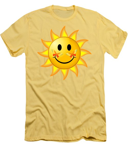 Men's T-Shirt (Slim Fit) featuring the digital art Smiley Face Sun by Robert G Kernodle