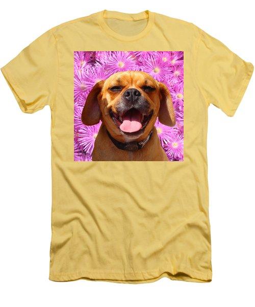 Smiling Pug Men's T-Shirt (Athletic Fit)