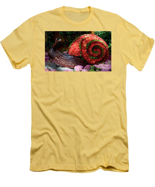 Snail With Flowers Men's T-Shirt (Athletic Fit)