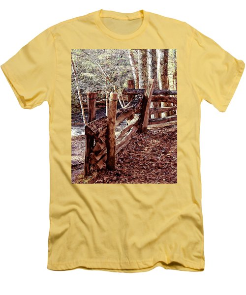 Men's T-Shirt (Slim Fit) featuring the photograph Snake Fence by B Wayne Mullins
