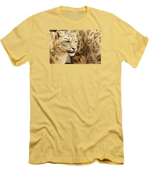 Snow Leopard  Men's T-Shirt (Slim Fit) by Gary Bridger