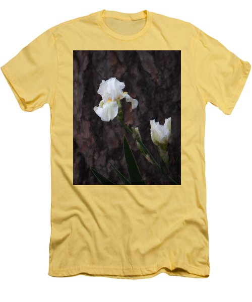 Snow White Iris On Pine Men's T-Shirt (Athletic Fit)