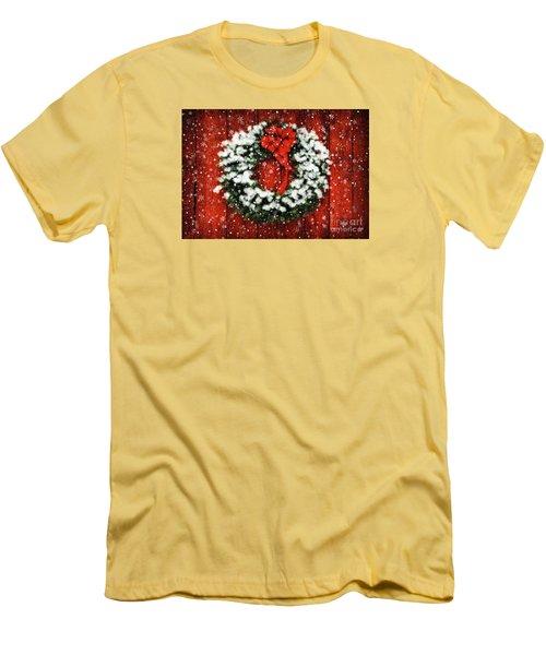 Snowy Christmas Wreath Men's T-Shirt (Slim Fit) by Lois Bryan
