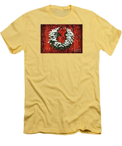 Snowy Christmas Wreath Men's T-Shirt (Athletic Fit)
