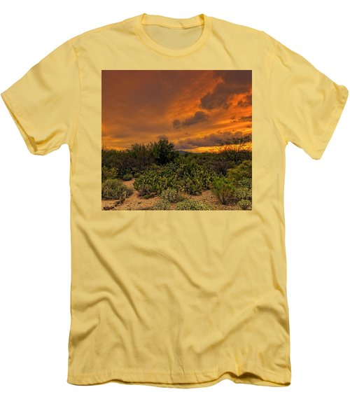 Men's T-Shirt (Athletic Fit) featuring the photograph Sonoran Sunset H4 by Mark Myhaver