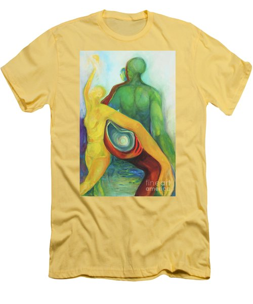 Men's T-Shirt (Slim Fit) featuring the painting Source Keepers by Daun Soden-Greene