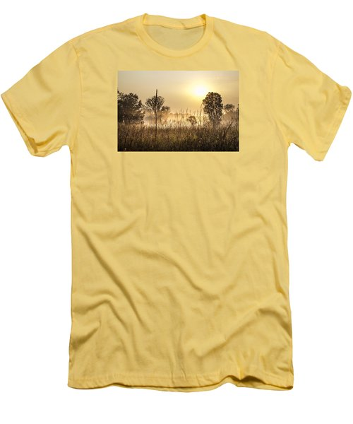 Southern Michigan Foggy Morning  Men's T-Shirt (Slim Fit) by John McGraw