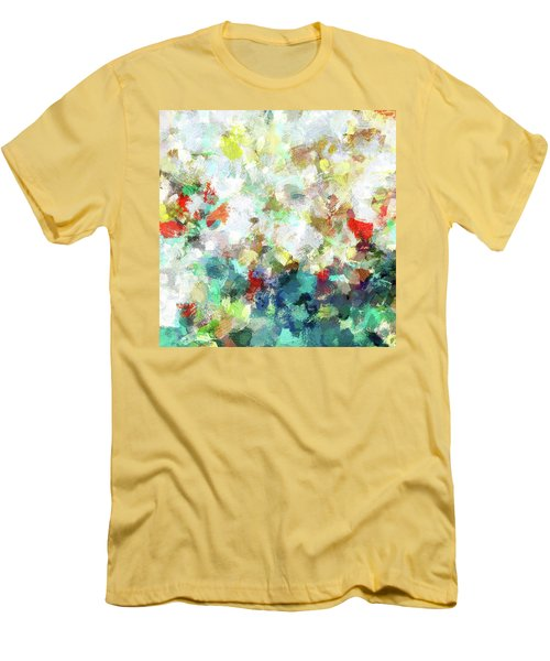 Men's T-Shirt (Slim Fit) featuring the painting Spring Abstract Art / Vivid Colors by Ayse Deniz