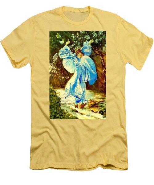 Men's T-Shirt (Slim Fit) featuring the painting Spring - Awakening by Henryk Gorecki