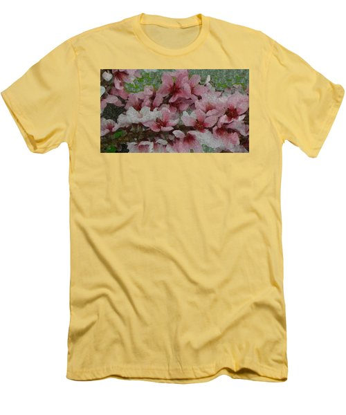 Spring Peach Blossoms Men's T-Shirt (Slim Fit) by Donna G Smith